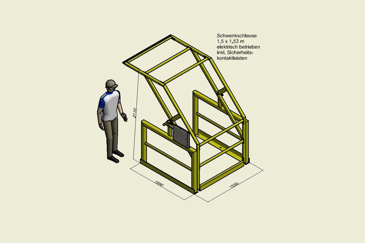 W+Z Stahlbau Schwenkschleuse Elektrisch